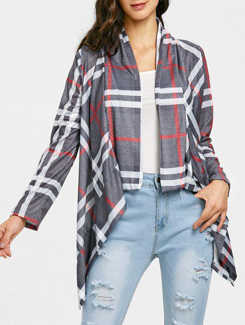 Draped Front Elbow Patch Plaid Cardigan - GRAY M
