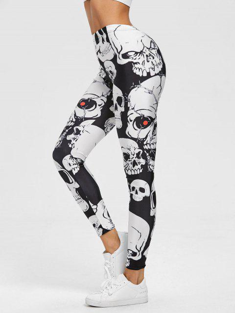 Skull Print Skinny Sports Leggings - BLACK S