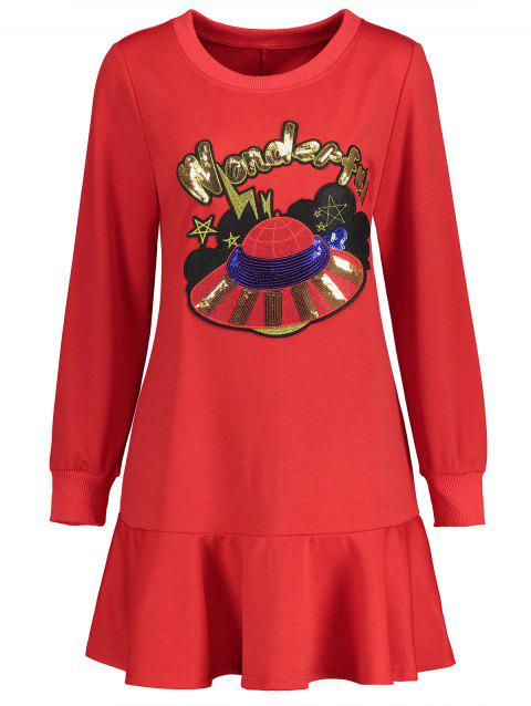 Robe Sweat-shirt Pailletée Grande Taille - Rouge 4XL