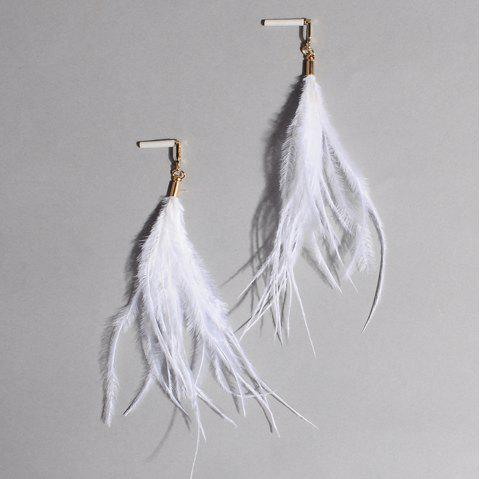 Feather Bohemian Drop Earrings - WHITE