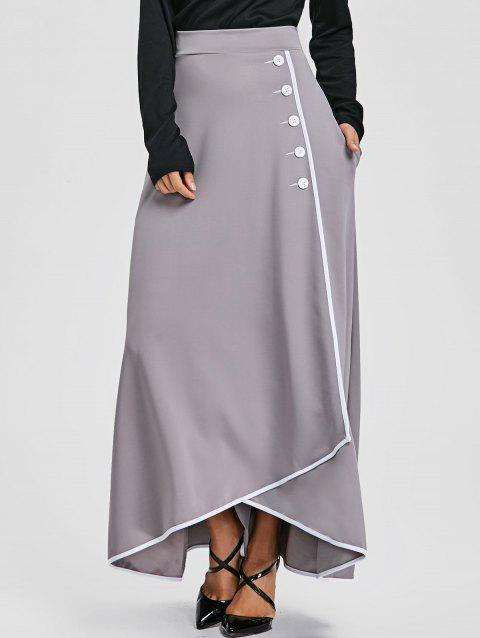 Buttons A-line Asymmetric Maxi Skirt - GRAY 2XL