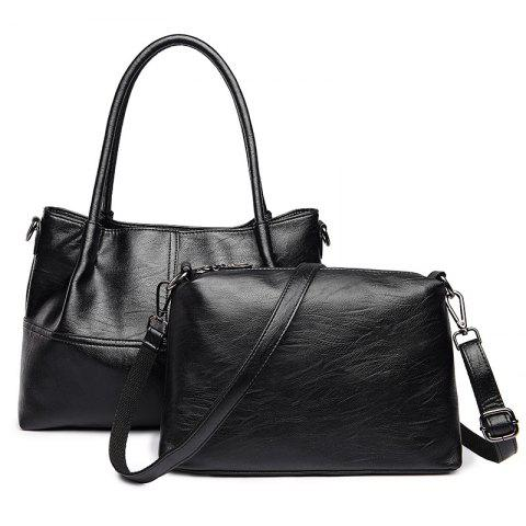 PU Leather 2 Pieces Handbag Set - BLACK