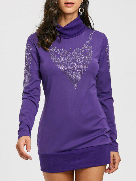 Turtleneck Beaded Embellished Long Sleeve Dress - PURPLE S
