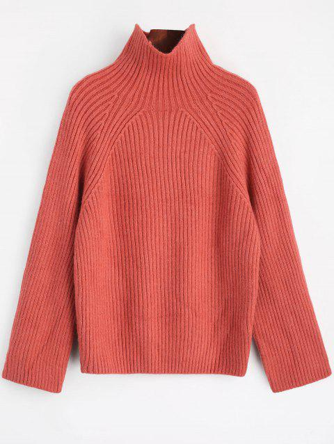 High Neck Plain Sweater - RUSSET RED ONE SIZE