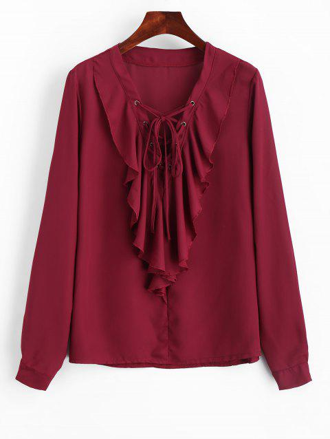 Lace Up Ruffles Blouse en mousseline de soie - Vin rouge L