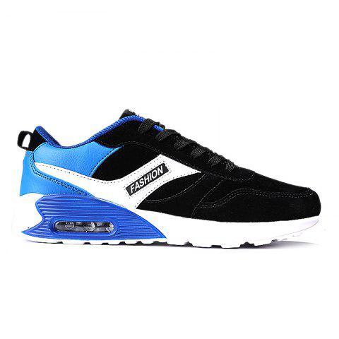 Color Blocking Air Cushion Casual Shoes - BLACK / BLUE 42