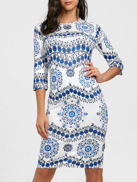 Porcelain Print Bodycon Midi Dress - BLUE/WHITE S