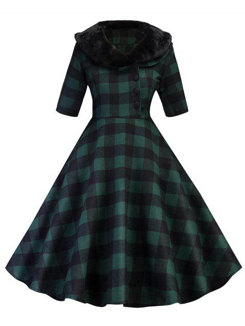 Vintage Plaid Fit and Flare Swing Dress - GREEN L