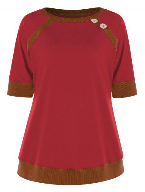 Button Tunic Ringer T-shirt - RED L
