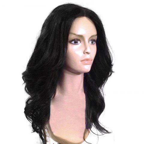 Long Middle Parting Shaggy Wavy Capless Synthetic Wig - BLACK