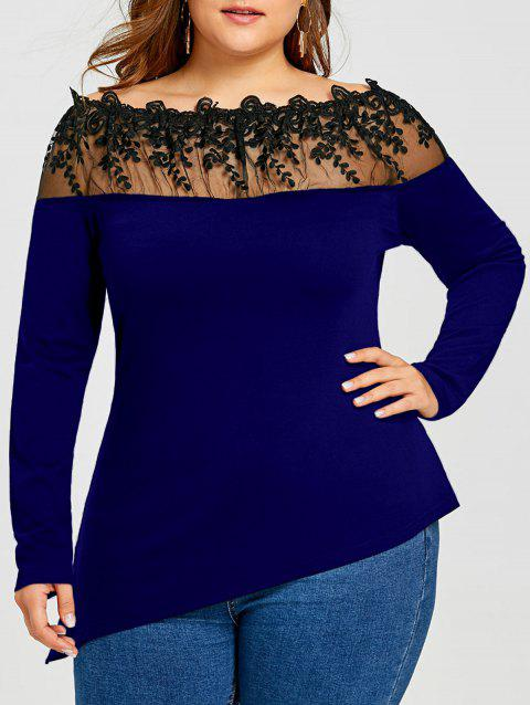 Plus Size Asymmetric Sheer Embroidered Long Sleeve T-shirt - DEEP BLUE 2XL