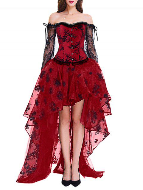 High Low Two Piece Corset Dress - RED S