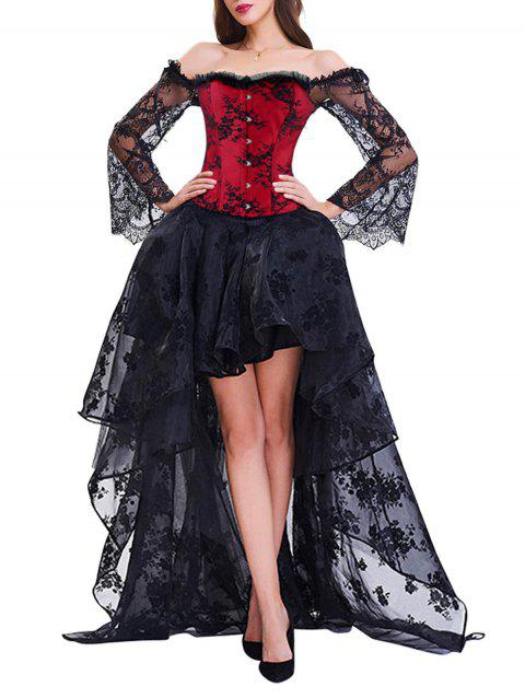 High Low Two Piece Corset Dress - RED/BLACK M