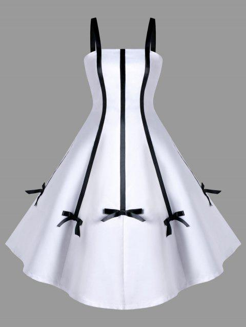 Two Tone Bowknot Embellished Swing Dress - WHITE L