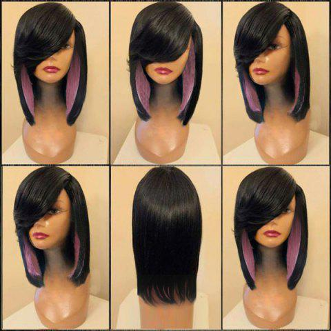 Medium Side Parting Colormix Straight Feathered Synthetic Wig - BLACK/PINK