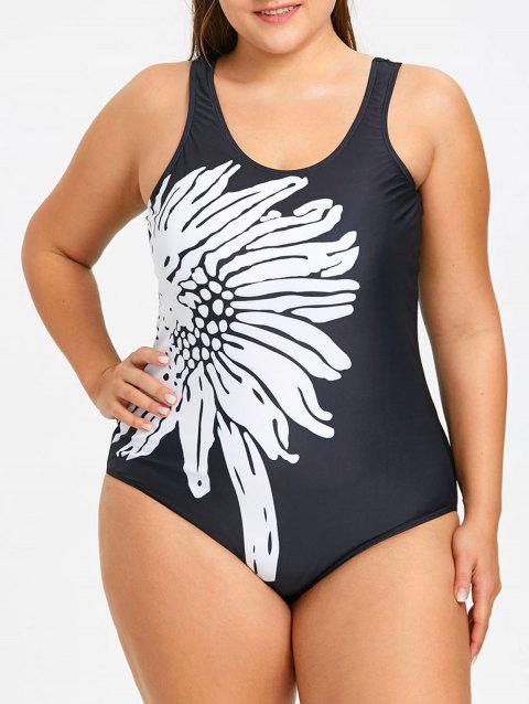Sports Plus Size Sunflower One Piece Swimwear - WHITE/BLACK 4XL