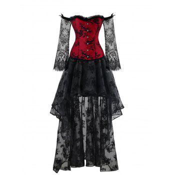 High Low Two Piece Corset Dress - RED/BLACK XL