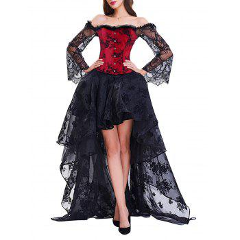 High Low Two Piece Corset Dress - RED WITH BLACK RED/BLACK