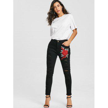 Floral Embroidery Distressed Skinny Jeans - BLACK L