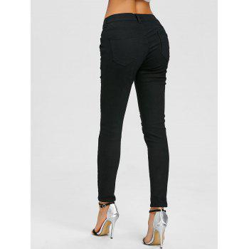 Floral Embroidery Distressed Skinny Jeans - BLACK 2XL