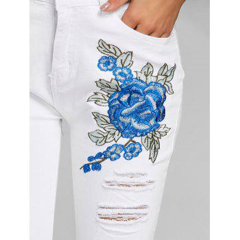Floral Embroidery Distressed Skinny Jeans - WHITE L