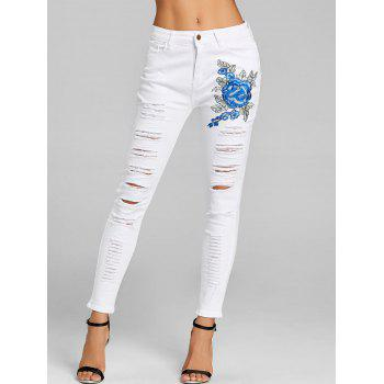 Floral Embroidery Distressed Skinny Jeans - WHITE WHITE