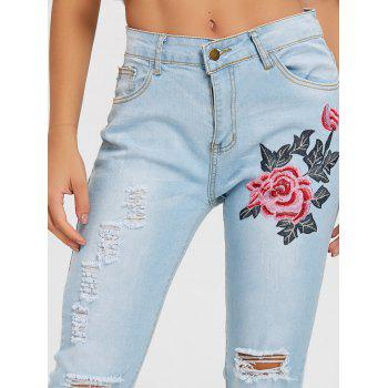 Broderie florale Skinny Jeans Distressed - Bleu clair 2XL