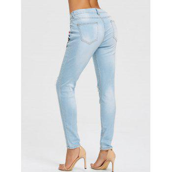Floral Embroidery Distressed Skinny Jeans - LIGHT BLUE L