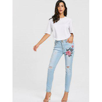 Floral Embroidery Distressed Skinny Jeans - LIGHT BLUE M