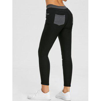 Skinny High Waisted Pencil Pants - BLACK M