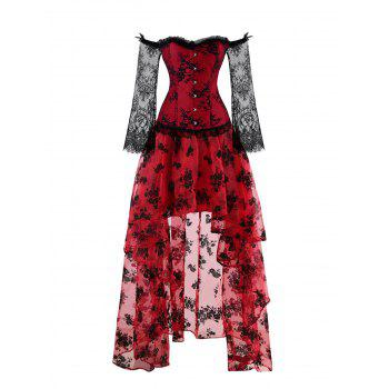 High Low Two Piece Corset Dress - RED 2XL