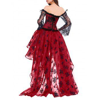 High Low Two Piece Corset Dress - RED RED