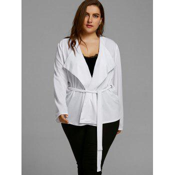 Belted Plus Size Short Coat - WHITE WHITE
