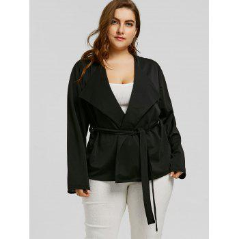 Belted Plus Size Short Coat - BLACK 5XL
