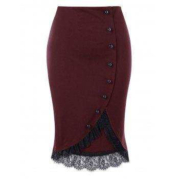 Plus Size Button Up Lace Trim Midi Skirt - WINE RED WINE RED