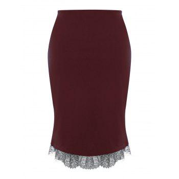 Plus Size Button Up Lace Trim Midi Skirt - WINE RED 3XL
