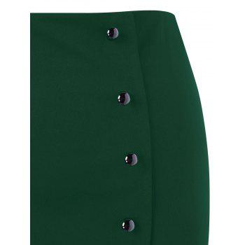 Plus Size Button Up Lace Trim Midi Skirt - GREEN GREEN