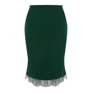 Plus Size Button Up Lace Trim Midi Skirt - GREEN 5XL