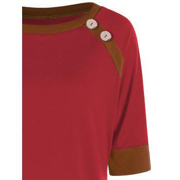 Button Tunic Ringer T-shirt - RED XL