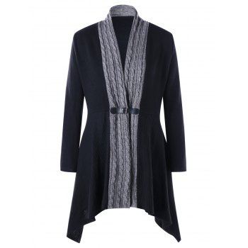 Plus Size Cable Knit Panel Asymmetrical Cardigan - BLACK BLACK