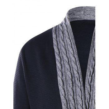 Plus Size Cable Knit Panel Asymmetrical Cardigan - BLACK 2XL