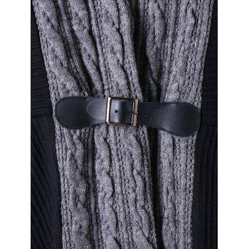 Plus Size Cable Knit Panel Asymmetrical Cardigan - BLACK 5XL