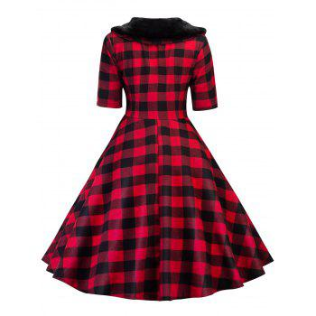 Vintage Plaid Fit and Flare Swing Dress - RED RED