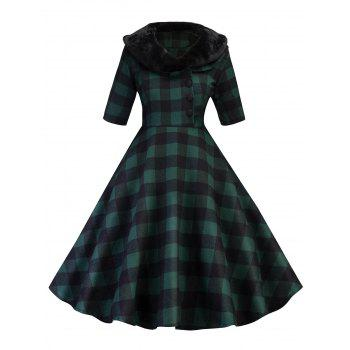 Vintage Plaid Fit and Flare Swing Dress - GREEN GREEN