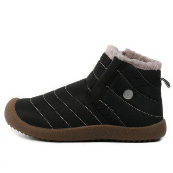 Stitching High Top Casual Shoes With Faux Fur - BLACK 42