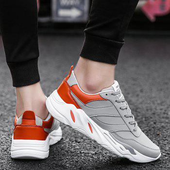 Color Blocking PU Leather Casual Shoes - GRAY 44