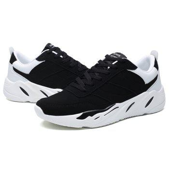 Color Blocking PU Leather Casual Shoes - BLACK WHITE 39