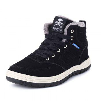 Skull Letter Patch Plush Lining Snow Boots - BLACK 44