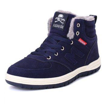 Skull Letter Patch Plush Lining Snow Boots - DEEP BLUE 48