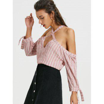 Cold Shoulder Long Sleeve Cut Out Striped Blouse - COLORMIX S